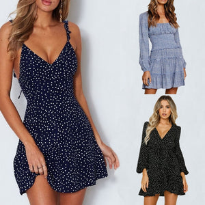 Summer Women Dress V Neck A Line Sexy High Waist Dot Printing Mini Dresses Back Lacing Straps Backless Dress