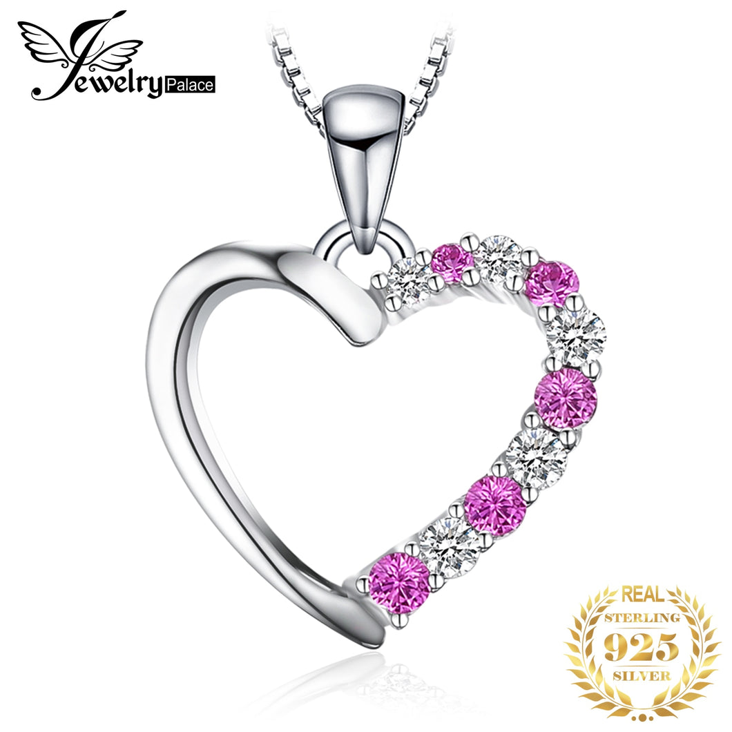 Created Pink Sapphire Pendant Necklace 925 Sterling Silver Gemstones Choker Statement Necklace Women No Chain