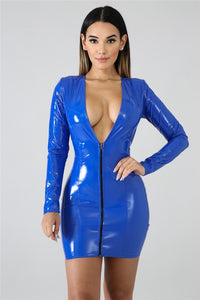 Women PU Leather Dresses Long Sleeve Zippers High Elasticity Sheath Clothing Deep V Neck Short Outdoor Wear