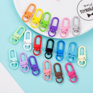 20PCS Colorful Key Chain Ring Metal Lobster Clasp Clips Bag Car Keychain DIY Jewelry Accessories Key Hooks Hook Up Base Findings