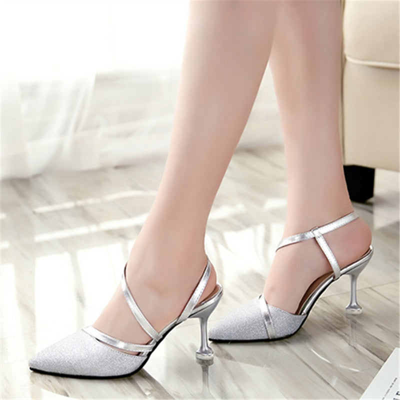 Summer heel High Heels Sandals lady Pumps classics slip on Shoes sexy Women party shoes gold silver Wedding Slingbacks