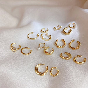 10 Set Ear Cuff Gold Leaves Non-Piercing Pearl Crystal Zircon Ear Clips Fake Cartilage Earring Jewelry For Women Men