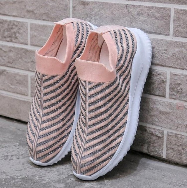 Women Crystal Sneakers Spring Autumn Casual Zipper Flat Shoes women Non-slip Breathable Outdoor Vulcanized Shoes woman