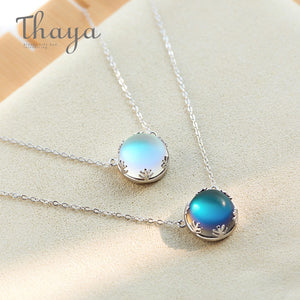 55cm Aurora Pendant Necklace Halo Crystal Gemstone s925 Silver Scale Light Necklace for Women Elegant Jewelry Gift
