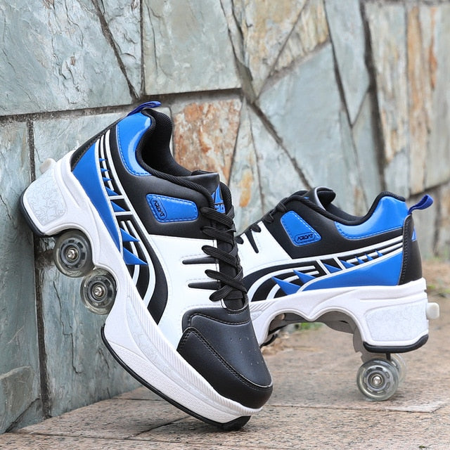 Hot Shoes Casual Sneakers Walk Roller Skates Deform Wheel Skates for Adult Men Women Unisex Child Runaway Skates Four Wheeled