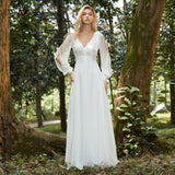 Elegant Boho Dress Lace Wedding Dresses Long Sleeve Ever Pretty A-Line V-Neck White Sexy Bridal Gowns
