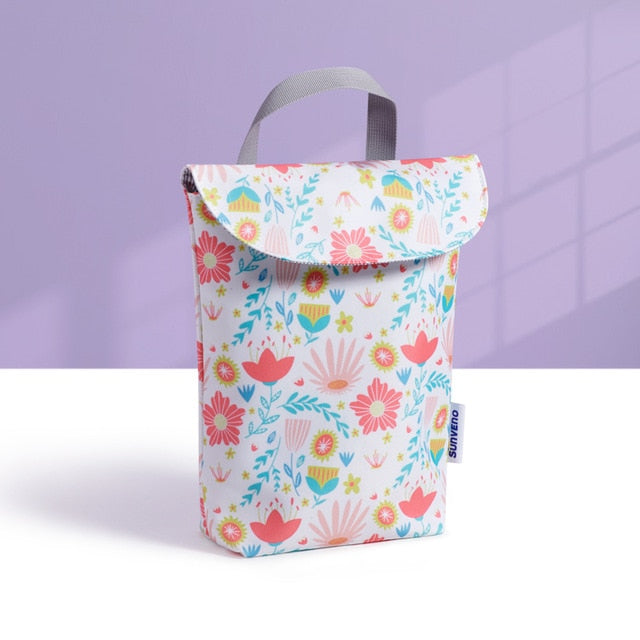 Baby Diaper Bag Organizer Reusable Waterproof Fashion Prints Wet/Dry Cloth Bag Mummy Storage Bag Travel Nappy Bag