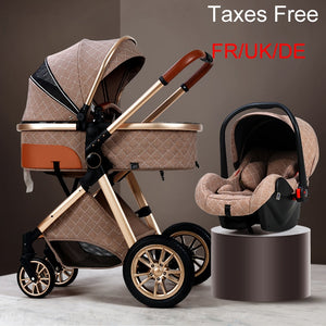 Baby Stroller 3 in 1 High Landscape Stroller Reclining  Baby Carriage Foldable Stroller Baby Bassinet