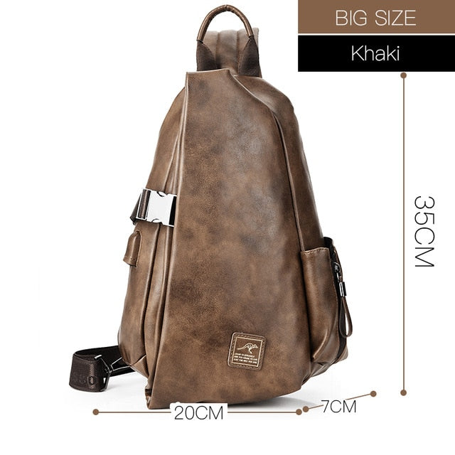 Men Multifunction Leather Crossbody Bags USB Charging Chest Pack Short Trip Water Repellent Shoulder Messengers Bag