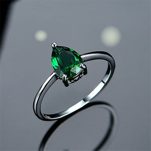 925 Sterling Silver Ring Pear Shape Gemstone Emerald Glass Cubic Zirconia Simple Ring For Women Trendy Jewelry