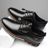 New Men Shoes Leather Cowhide Leather Shoes Men Comfortable Low-top British Casual Single Shoes Leather Shoes Formal Shoes