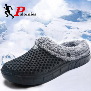Men and Women Winter Slippers Fur Slippers Warm Fuzzy Plush Garden Clogs Mules Slippers Home Indoor Couple Slippers