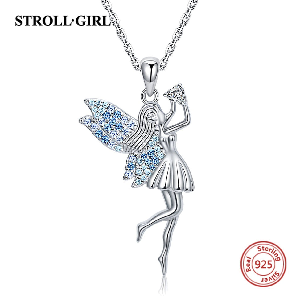 925 Sterling silver beautiful Elf pendant chain zircon angel little girl necklace for Women Fine Jewelry Accessories