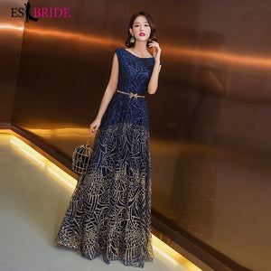 Formal Evening Dresses Royal Blue Sexy A Line Sleeveless Backless Party Gowns with Split Fashion