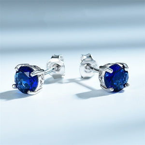 DY 925 Sterling Silver Earrings Gemstone Blue Sapphire Nano Synthetic Stud Earrings For Women Engagement Trendy Jewelry