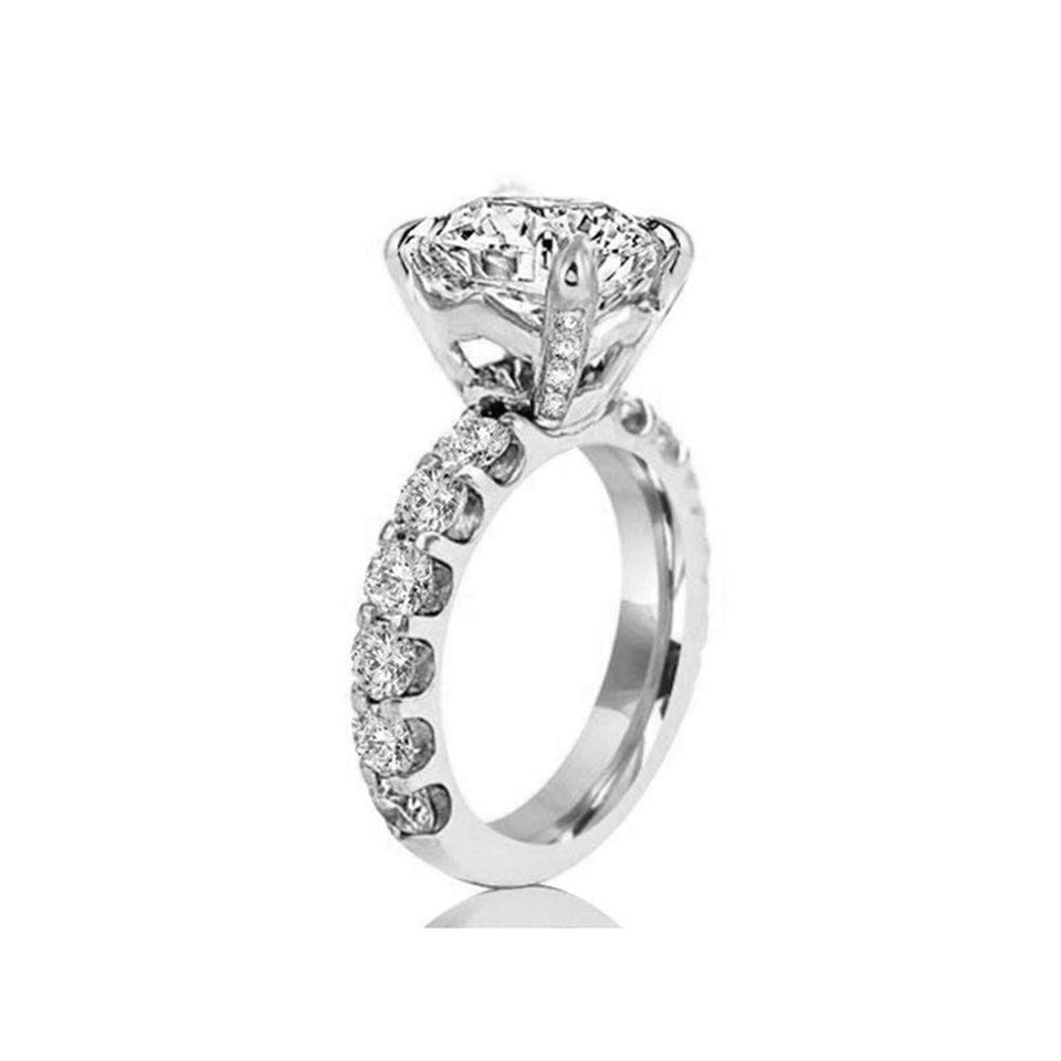Solid 925 Silver High Setting Engagement Ring With Round Cut 3 Carat AAAAA Cubic Zirconia Rings For Women Luxury Gift