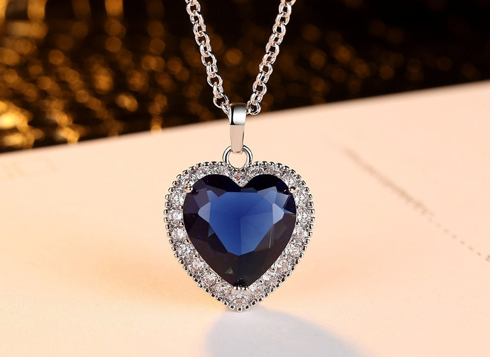 Titanic Heart of the Ocean Necklaces for Women Blue AAA CZ Silver Chain High Quality Pendant Necklaces Fashion Wedding Jewelry