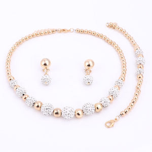 High Quality Gold Color Jewelry Set Nigerian Wedding African Beads Costume Jewelry Bracelet Earring Necklace