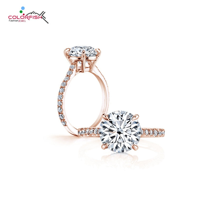 Classic Four Prong 3 ct Round Brilliant Cut Engagement Solitaire Ring Sterling Silver Rose Gold Filled Rings For Women