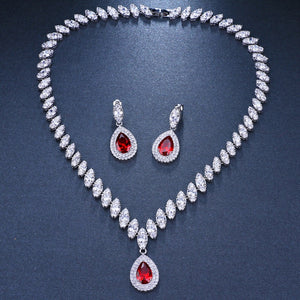 Simulated Bridal Jewelry Sets Silver Color Necklace Sets 4 Colors Wedding Jewelry Bijoux Femme