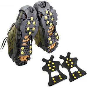 1 Pair 10 Studs Anti-Skid Ice Gripper Spike Winter Climbing Anti-Slip Snow Spikes Grips Cleats Over Shoes Covers Crampon