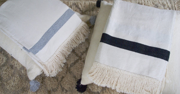 FAS ECRU STRIPED THROW