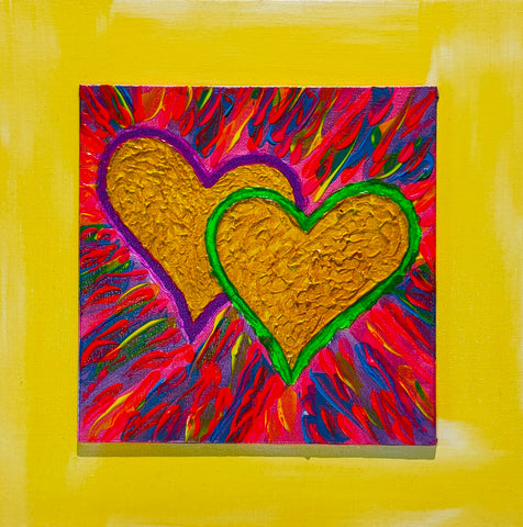 Blue Hearts on Fire #3 30x30cm Double Mount by John Davis