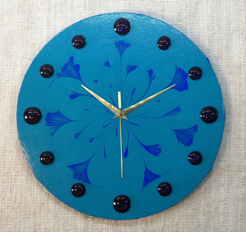 Blue Lily 30cm Canvas Clock by John Davis