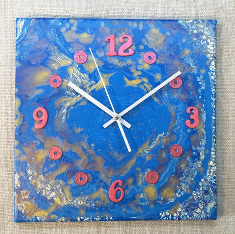 Lucky Coins 30cmx30cm Canvas Clock by John Davis