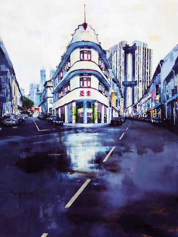 Keong Siak Road Singapore (Blue Metal) Limited Edition Print by Jose Martinez