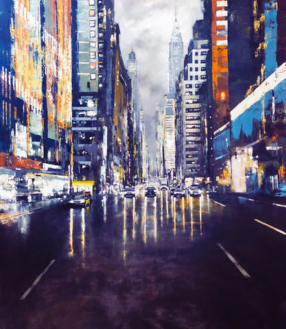 Urban Autumn-Lexington Avenue (Blue Metal) by Jose Martinez