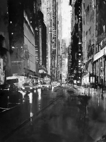 Somewhere in New York City (Black and White) by Jose Martinez