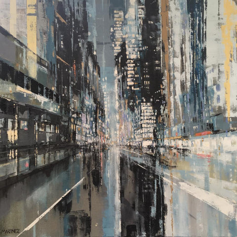 New York Lights Welcome Me (Oil on Canvas) by Jose Martinez