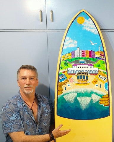 """Wishing you were here-Bondi Beach"" Original 7'6"" Surfboard Painting by John Davis"