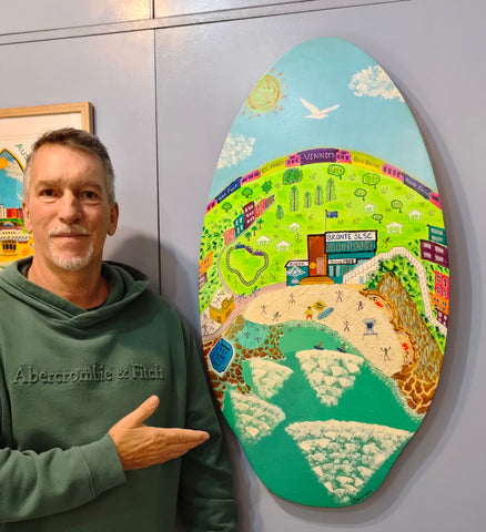 """Wishing you were here-Bronte Beach"" Original Surfboard Painting by John Davis with Custom Wall Mount"