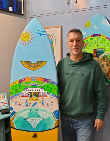"""Welcome to Bondi Beach"" Original 6'5"" Surfboard Painting by John Davis"