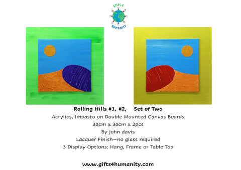 ROLLING HILLS #1 and #2 Set of Two 30x30cm Double Mount by John Davis