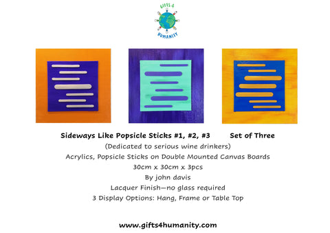 SIDEWAYS like POPSICLE STICKS #1 #2 #3 Set of Three 30x30cm by John Davis