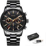 LIGE Mens Chronograph Watch, Casual, Leather Band, Waterproof