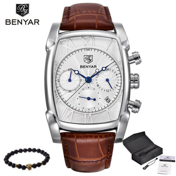 BENYAR - Man Chronograph, Quartz-watch, Leather Band