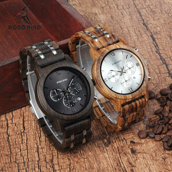BOBO BIRD Wooden Watch Men, Wood Metal Strap Chronograph, Date, Quartz Versatile Timepiece - SALE