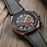 FAERDUO - Chronograph Multi-Function Watch, Black Stainless Steel, Octagonal Dial, Genuine Leather Strap