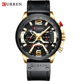 CURREN Mens Watches, Leather Band, Chronograph, Quartz, Waterproof