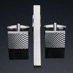DY New high-end brand of high quality laser carved gold, silver, black, enamel and crystal Cufflinks and tie clip sets -Sale