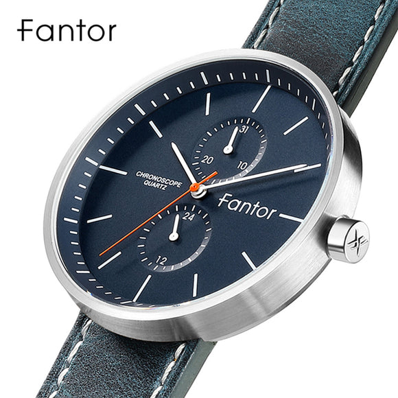 Fantor - Blue - Men Quartz Chronograph Watch, Waterproof, Casual Men's Wristwatch, Ultra Thin Leather Strap, Dress Watch