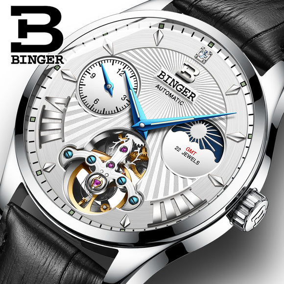 BINGER Automatic Switzerland Tourbillon Mechanical Watch, Moon Phase,  Sapphire, Multiple Time Zones, Shock Resistant, Luminous Hands, Water Resistant