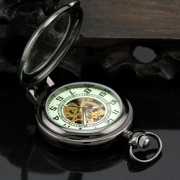 Fashion Cool Black Magnifier Stand-up Auto Mechanical Men Pocket Watch Top Quality Best Gift Collection