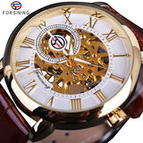 Forsining 3d Logo Design Hollow Engraving Black Gold Case Leather Skeleton Mechanical Watches