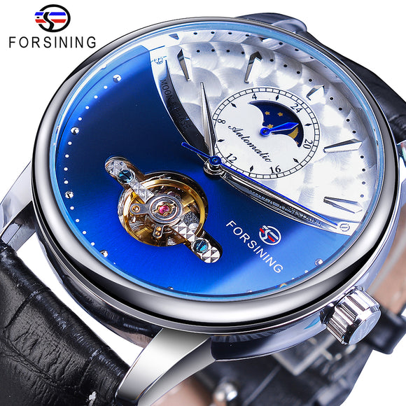 Forsining - Tourbillon Men's Wristwatch - Blue Moon Phase, Mechanical, Auto Self-Wind,  Genuine Leather Strap - on SALE