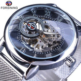 Forsining Skeleton Sport Mechanical Watch, Luminous Hands, Transparent Mesh Bracelet, For Men Top Brand Luxury